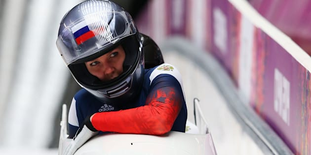 Russian bobsledder Nadezhda Sergeeva, front, has failed a doping test at the PyeongChang Olympics.