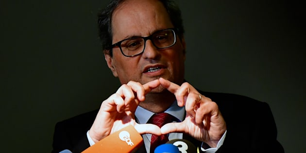 Quim Torra, durante una rueda de prensa en Berlín, el pasado mayo, en una visita a su antecesor, Carles Puigdemont.
