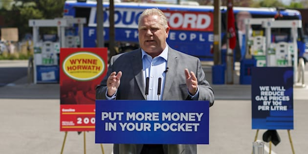 Doug Ford, now premier-elect, speaks during a campaign press conference in Oakville, Ont. on May 16, 2018.