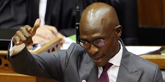 Former Finance Minister Malusi Gigaba delivers his budget address at Parliament in Cape Town, South Africa February 21, 2018.