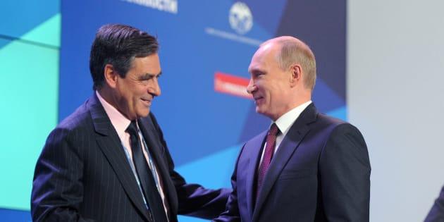 François Fillon avec Vladimir Poutine, en Russie en 2013.
