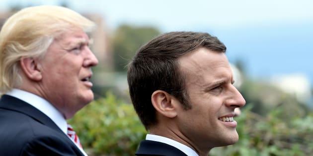 Donald Trump et Emmanuel Macron lors du G7 à Taormina en Sicile le 26 mai 2017.