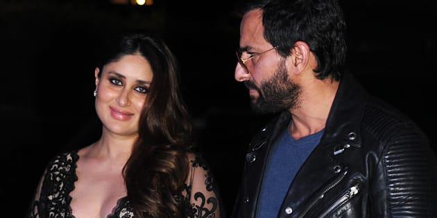 Bollywood actors Saif Ali Khan (R) and Kareena Kapoor Khan