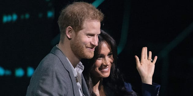 Prince Harry, Duke of Sussex and Meghan, Duchess of Sussex on stage at We Day UK on March 6, 2019.