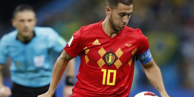 Eden Hazard lors du match Brésil-Belgique en quart de finale de Coupe du monde.