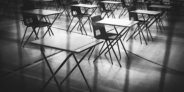 set up for exam in hall