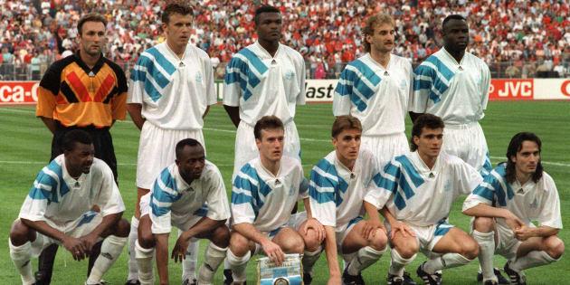 L'OM avant la finale de la Ligue des champions contre le Milan AC à Munich le 26 mai 1993.