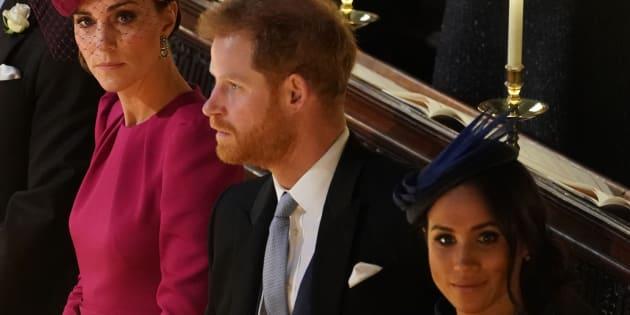 Kate Middleton y Meghan Markle en la boda de la princesa Eugenia