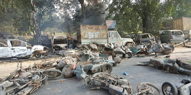 A photo from the scene of violence in Bulandshahr.