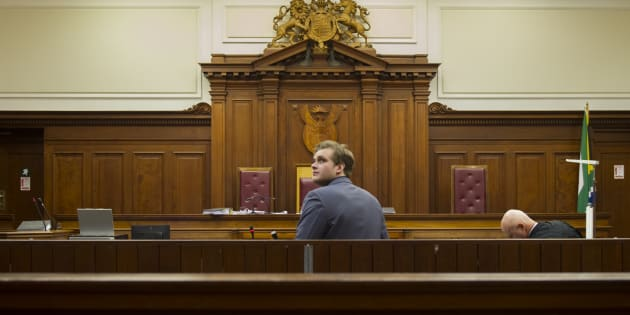 "CAPE TOWN, SOUTH AFRICA – MAY 16: Murder accused Henri van Breda at the Western Cape High Court during day 12 of his trial on May 16, 2017 in Cape Town, South Africa. Stephanie Op't Hof, who lived opposite the Van Breda home, at around 10pm heard ""very loud male voices"" that sounded as if they were fighting. Henri Van Breda is accused of the brutal murders of his parents and brother, and the attempted murder of his sister in 2015. (Photo by Gallo Images / Beeld / Jaco Marais)"