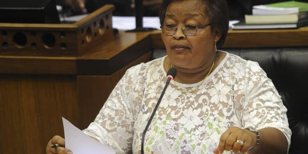 Northern Cape Premier Sylvia Lucas speaks during the 2017 State of the Nation address debate at the National Assembly on February 14, 2017 in Cape Town, South Africa.