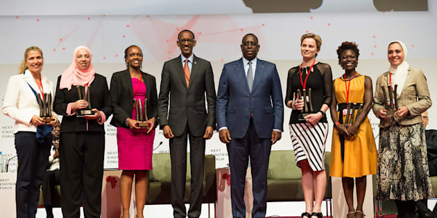 Earlier NEF fellows. Left to Right: Amanda Weltman, South Africa; Sherien Elagroudy, Egypt; Evelyn Gitau, Kenya;  President Kagame; President Macky Sall, Alta Schutte, South Africa; Tolu Oni, Nigeria; Ghada Bassioni, Egypt.
