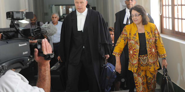 Patricia de Lille and her legal team are seen outside court before the case between Patricia de Lille and the Democratic Alliance (DA) at the Western Cape High Court on February 13, 2018 in Cape Town.