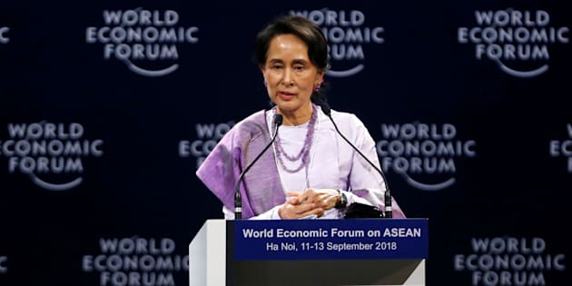 Myanmar State Counsellor Aung San Suu Kyi speaks at the plenary session of the World Economic Forum on ASEAN at the Convention Center in Hanoi, Vietnam on Sept. 12, 2018.