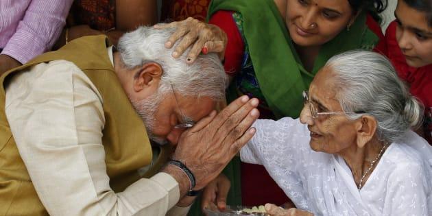 Prime Minister Narendra Modi with his mother.