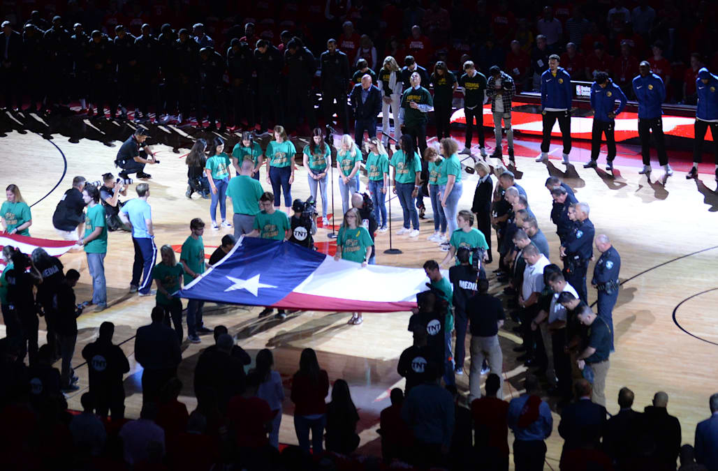 24304da09efa The Houston Rockets honored the victims and survivors of the deadly Santa Fe  High School shooting during Thursday's Game 5 of the Western Conference  finals.