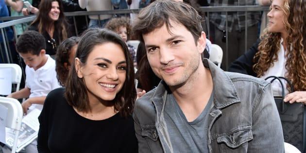 Mila Kunis et Ashton Kutcher à la Zoe Saldana Walk of Fame cérémonie à Hollywood, le 03 mai 2018.