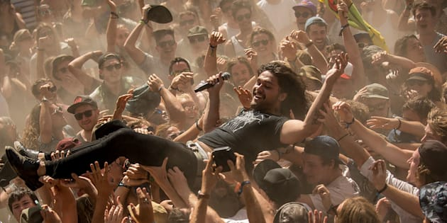Dave Le'aupepe of Gang of Youths clearly had zero fun during his last Byron Bay performance.