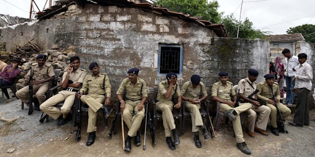Tight security seen after the Una Dalit row at Mota Samadhiyala village.