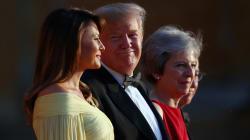 Trump llegó a Reino Unido en su primer visita como presidente de Estados