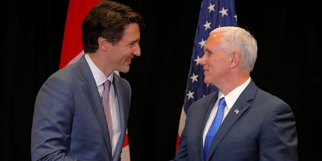 Prime Minister Justin Trudeau and United States Vice President Mike Pence meet on the sidelines of the National Governors Association summer meeting in Providence, Rhode Island, U.S., on July 14, 2017.