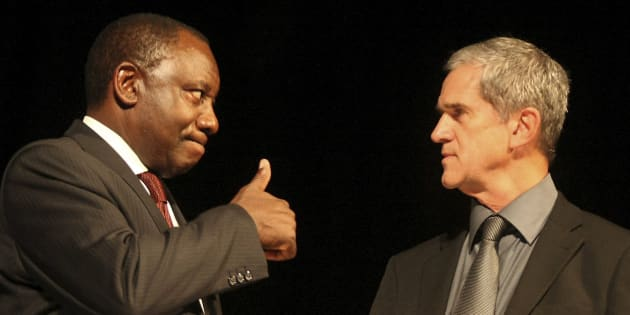 Former ANC chief negotiator, Cyril Ramaphosa and former National Party and government chief negotiator Roelf Meyer in 2008.