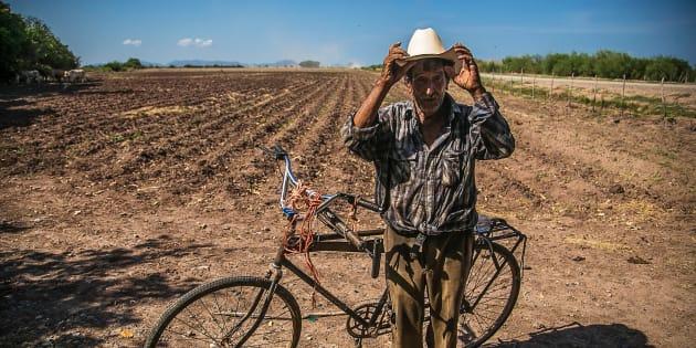 Un campesino preparara la tierra de su parcela para el próximo ciclo agrícola en Sinaloa