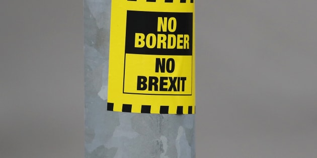 A sticker opposing Brexit is seen on a street in Londonderry, Northern Ireland, March 23, 2017.    REUTERS/Phil Noble
