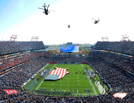 Fan hospitalized after fall at Titans-Patriots game