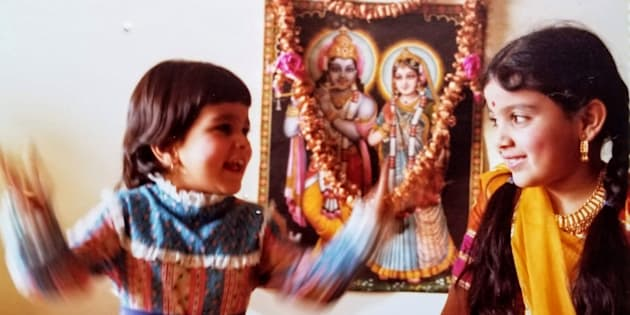 Henna Patel (right) celebrating Diwali with her little sister circa 1981.