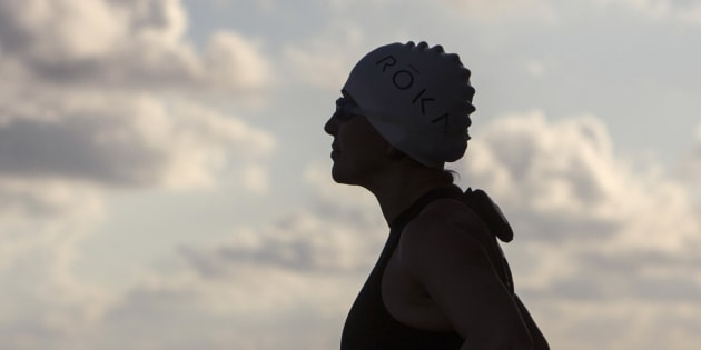 Norma Bastidas juste avant de se lancer dans son triathlon record, à Cancun, en mars 2014. (MEXICO - Tags: SPORT TRIATHLON SOCIETY)