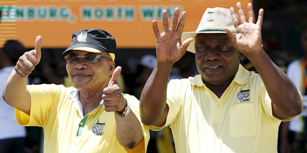 South African president, Cyril Ramaphosa, and his predecessor, Jacob Zuma, during the party's 104th-anniversary celebrations in Rustenburg. January 9, 2016.