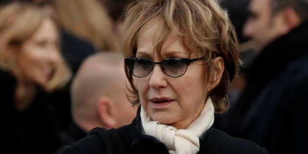 Nathalie Baye à son arrivée à la Madeleine pour les funérailles de Johnny Hallyday.