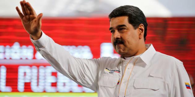 Nicolas Maduro arrivant pour une émission télévisée à Caracas le 20 février 2019.