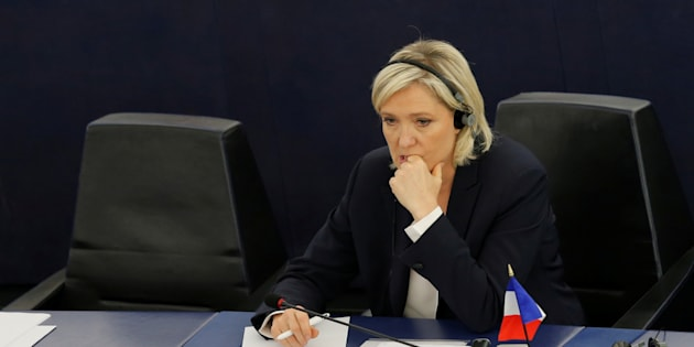 Marine Le Pen, pendant un débat au Parlement européen, au mois de juillet.
