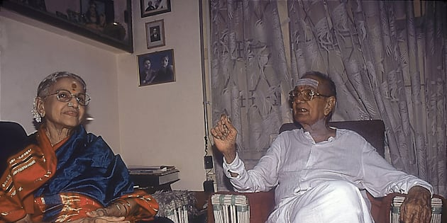 MS Subbulakshmi and her husband T Sadasivam sitting in their drawing room.