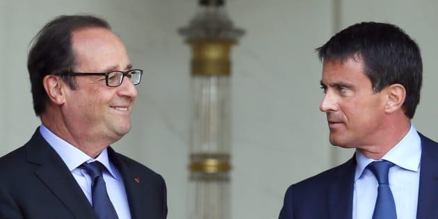 François Hollande et Manuel Valls sur le perron de l'Elysée.