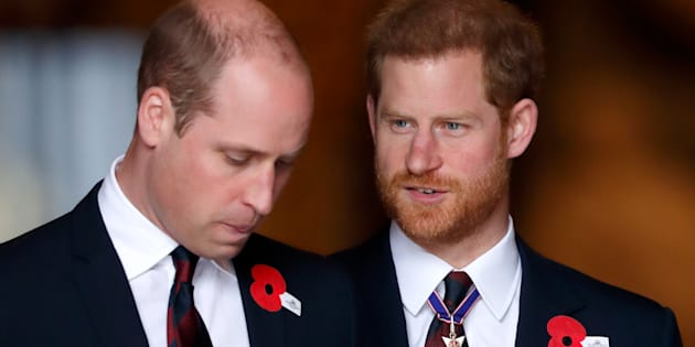 Prince William and Prince Harry attend an Anzac Day Service of Commemoration and Thanksgiving at Westminster Abbey on April 25, 2018 in London.