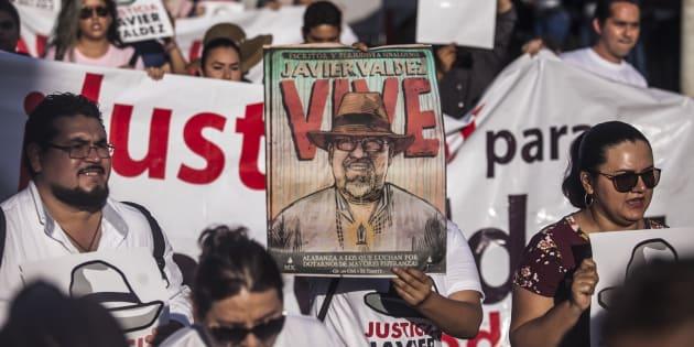 Protesta por el año de impunidad en el asesinato del periodista Javier Valdez Cárdenas en Culiacán, Sinaloa, el 15 de mayo de 2018.