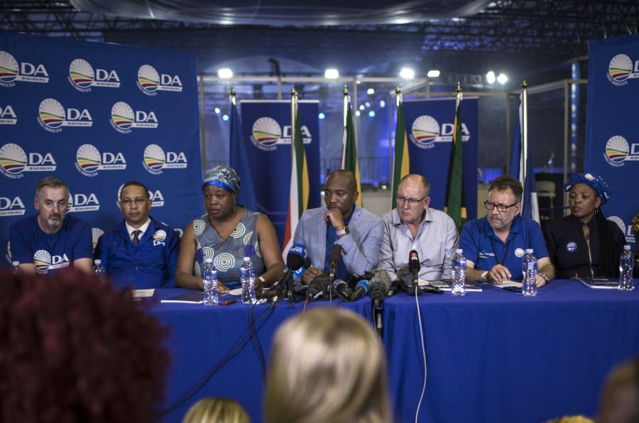 The DA leadership speaks at a press conference at the party's federal congress in Pretoria on April 8, 2018.
