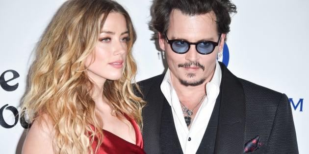 Le couple formé par Amber Heard et Johnny Depp lors d'un tapis rouge en Californie en janvier 2016