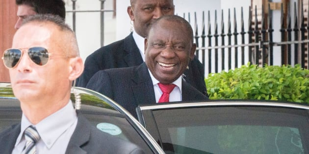 Cyril Ramaphosa leaves Tuynhuys on February 8, 2018, in Cape Town.