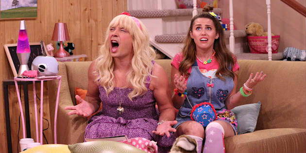 THE TONIGHT SHOW STARRING JIMMY FALLON -- Episode 0536 -- Pictured: (l-r) Host Jimmy Fallon as Sara and musician Miley Cyrus during the 'Ew!' sketch on September 19, 2016 -- (Photo by: Andrew Lipovsky/NBC/NBCU Photo Bank via Getty Images)