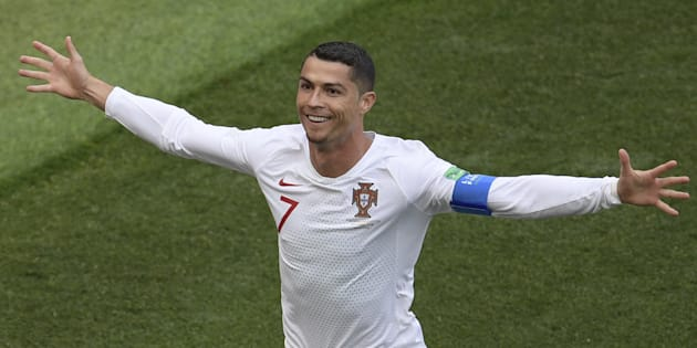 Cristiano Ronaldo comemora gol contra Marrocos: Artilheiro da Copa e principal goleador por uma seleção europeia, à frente do lendário húngaro Ferenc Puskas.