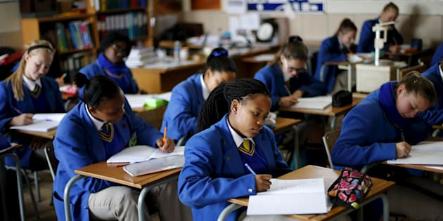 School children attend class at Waterstone College, a private school managed by Curro in the south of Johannesburg July 22, 2015.