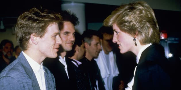Princess Diana meeting musician Bryan Adams after a pop concert in Vancouver during her tour of Canada, on May 3, 1986.