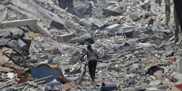 Dans le quartier dévasté de Hajar al-Aswad à Damas le 22 mai 2018.