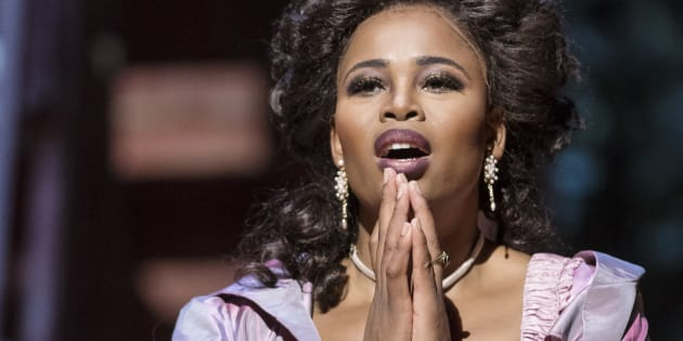 South African soprano Pretty Yende as 'Rosina' in the final dress rehearsal of the Metropolitan Opera/Bartlett Sher's production of 'The Barber of Seville,' by Gioachino Rossini at Lincoln Center's Metropolitan Opera House in New York City.