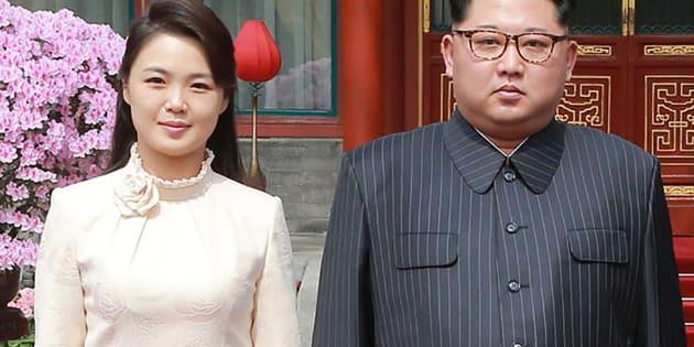 Kim Jong-un et sa femme Ri Sol-ju lors d'une visite à Pékin plus tôt cette semaine.