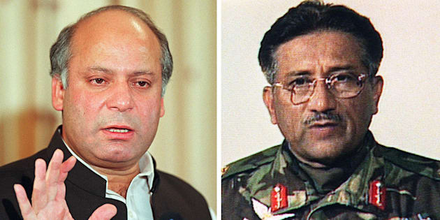 (FILES) In this combination of file pictures created on July , 17, 2009, shows then Pakistani Prime Minister Nawaz Sharif (L) gestures as he addresses a press conference at his residence in Islamabad on October 8, 1999 and a TV frame grab of then Pakistani army chief General Pervez Musharraf (R) addresses the nation via television from Islamabad on October 13, 2009.